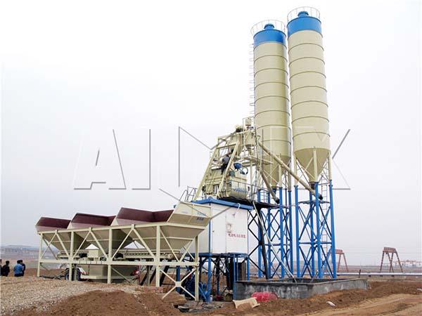Стационарный бетонный завод HZS75